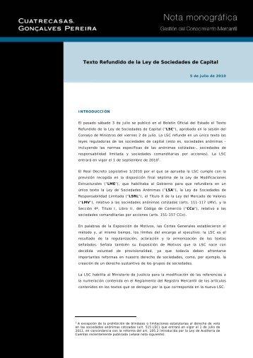 Texto Refundido de la Ley de Sociedades de Capital - Cuatrecasas