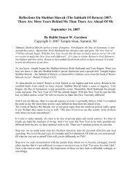 Reflections On Shabbat Shuvah (The Sabbath Of ... - Temple Sinai