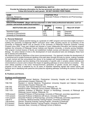 Biographical Sketch Format Page Pstp University Of Pittsburgh