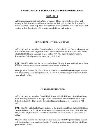 FAIRBORN CITY SCHOOLS BUS STOP INFORMATION 2012 - 2013