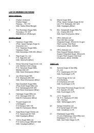 List of member factories - Indian Sugar Mills Association