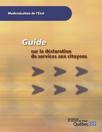 Guide sur la déclaration de services aux citoyens - Secrétariat du ...