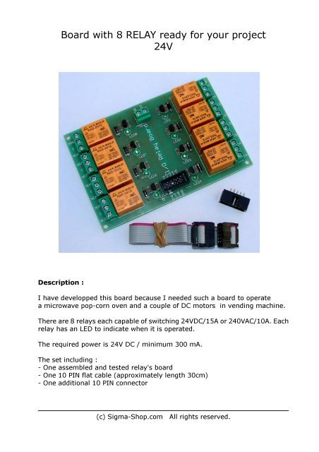 Board with 8 RELAY ready for your project 24V