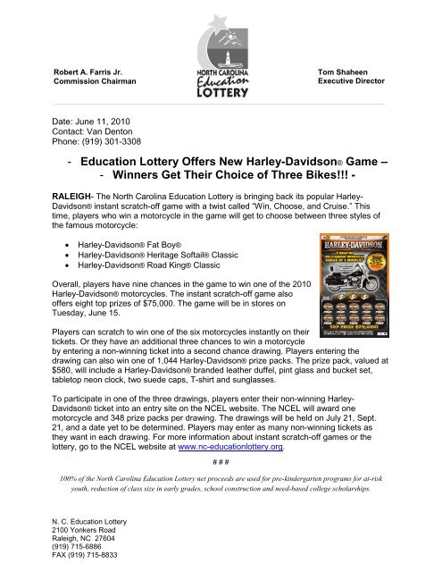 Education Lottery Offers New Harley-Davidson® Game â