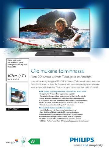 42PFL6067T/12 Philips Smart LED-TV, jossa Ambilight Spectra 2 ja ...