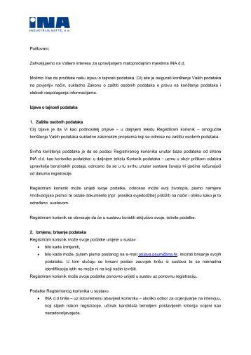 Izjava o povjerljivosti podataka - Ina