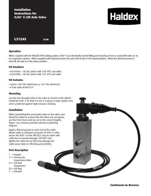 ILAS® E Installation Instructions - Haldex on