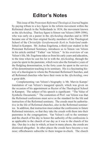 April 2013 - Protestant Reformed Churches in America