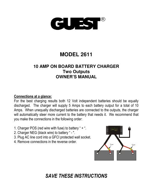model 2611 save these instructions  marinco