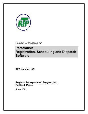 Regional Transit Program RIDES software RFP - Florida Advanced ...