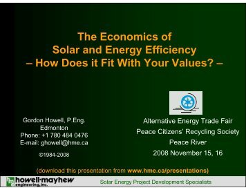 The Economics of Solar and Energy Efficiency - Howell-Mayhew ...