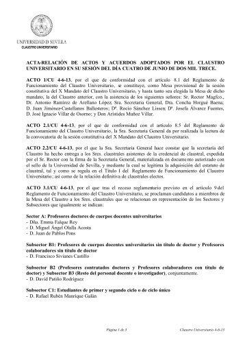 Acta-Relación de Actos y Acuerdos del Claustro Universitario del 4 ...