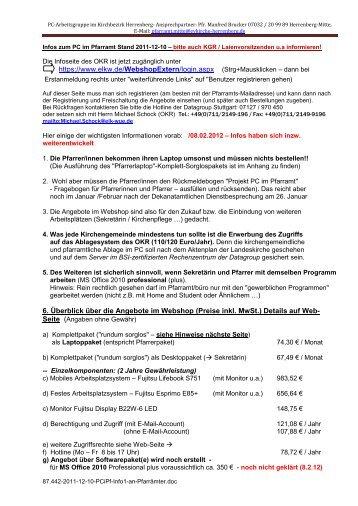 6. Überblick über die Angebote im Webshop (Preise inkl. MwSt ...