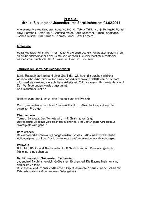Protokoll der 11. Sitzung des Jugendforums Bergkirchen am 03.02.2011