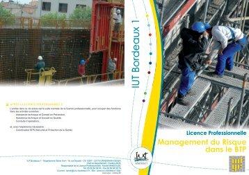 Licence Professionnelle Management du Risque ... - IUT Bordeaux 1...