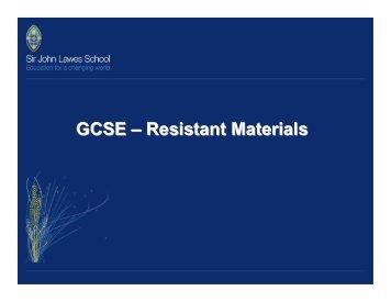 GCSE – Resistant Materials