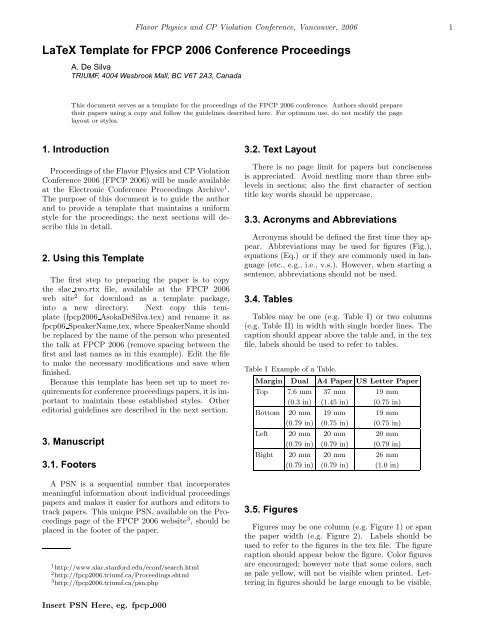 LaTeX Template for FPCP 2006 Conference Proceedings