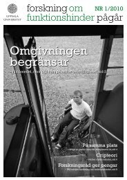 Forskning om funktionshinder pågår - Nummer 1 2010 - Centrum för ...