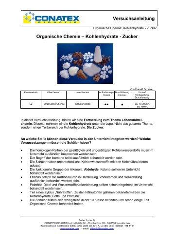 Organische Chemie – Kohlenhydrate - Zucker - Conatex-Didactic ...