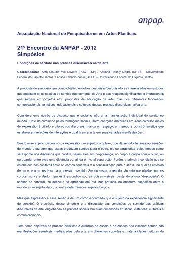 Condições de sentido nas práticas discursivas na/da arte. - anpap