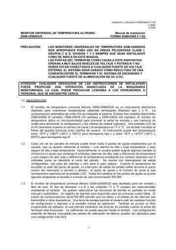 MONITOR UNIVERSAL DE TEMPERATURA ... - Altronic Inc.