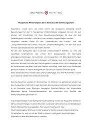 Wuppertaler Wirtschaftspreis 2011 - Wuppertal Marketing Gmbh