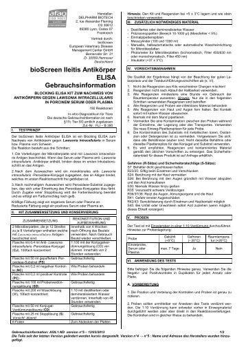 bioScreen Ileitis Antikörper ELISA Gebrauchsinformation