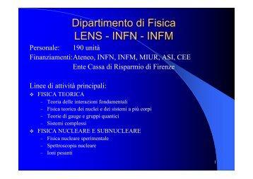 relazione del Direttore del Dipartimento di Fisica, M. Colocci - INFN