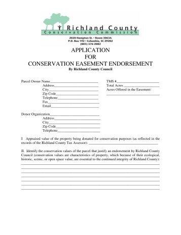 application for conservation easement endorsement - Richland County