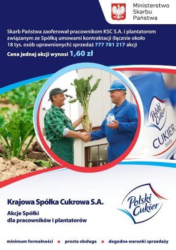 Krajowa Spółka Cukrowa S.A. - PKO BP SA BDM