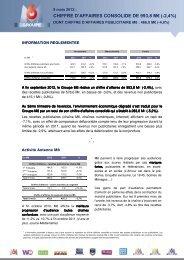 Chiffre d'affaires consolidé au 30 septembre 2012 - Groupe M6