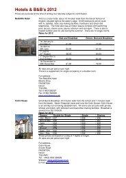 Hotels & B&B's 2012 - The Devon School of English