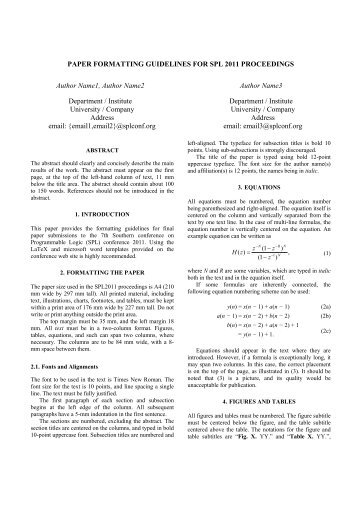 Full Paper Formatting Instructions