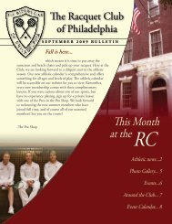 september 2009 bulletin - The Racquet Club of Philadelphia