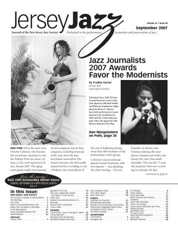 Jazz Journalists 2007 Awards Favor the Modernists - New Jersey ...