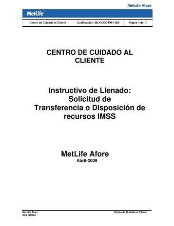Solicitud de Transferencia o Disposición de recursos IMSS MetLife ...