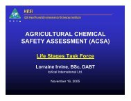 Life Stages Task Force - ILSI Health and Environmental Sciences ...