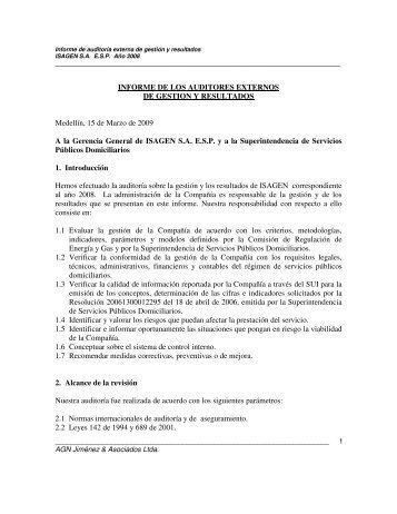 INFORME DE LOS AUDITORES EXTERNOS DE GESTION ... - Isagen