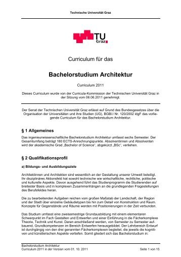 Curriculum für das Bachelorstudium Architektur - mibla.TUGraz.at