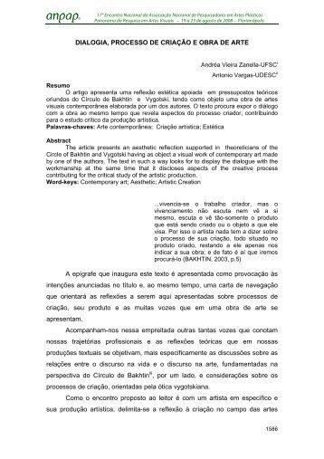 DIALOGIA, PROCESSO DE CRIAÇÃO E OBRA DE ARTE A ... - anpap