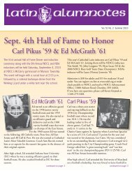 Sept. 4th Hall of Fame to Honor - Cathedral Latin Alumni Association