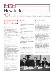Newsletter 13 - International ISMN Agency