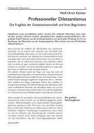 Professioneller Dilettantismus - Rudolf Steiner Forschungstage