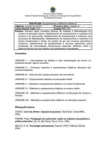 Equipamentos e Materiais Didáticos Vigência: a partir de 2012/1 ...