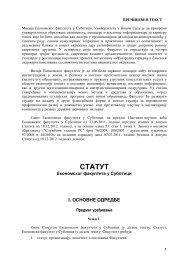 Statut Fakulteta - Ekonomski fakultet Subotica