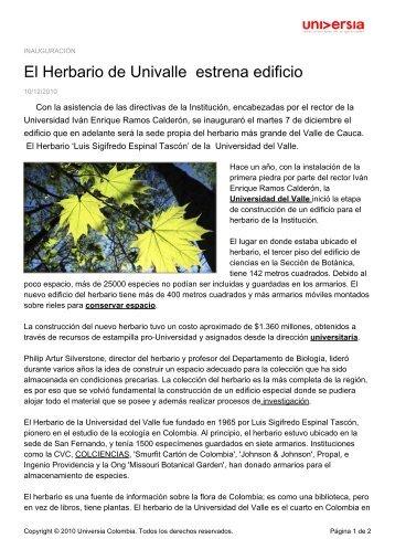 El Herbario de Univalle estrena edificio - Noticias - Universia