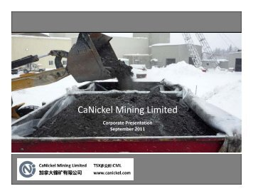 Presentation - CaNickel Mining Limited