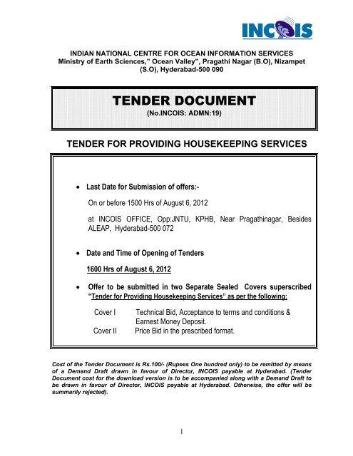 tender document - Indian National Centre for Ocean