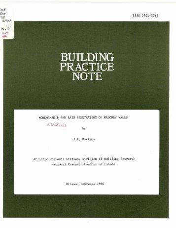 Workmanship and Rain Penetration of Masonry Walls - National ...
