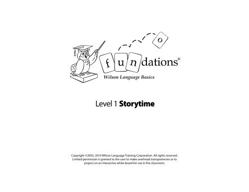Fundations Level 1 Storytime